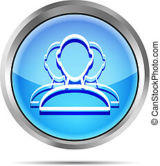 blue user group web icon on a white