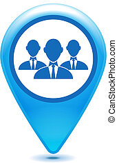blue group of businessman pointer