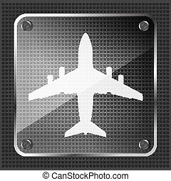 glass airplane icon on a metallic background