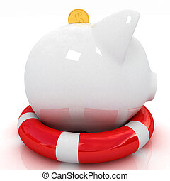 piggy bank on lifebuoy on white background