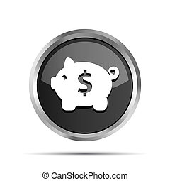 black icon with piggy bank on a white background