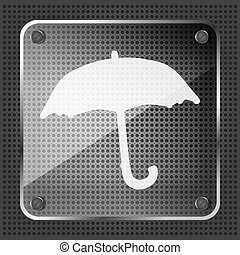 glass forecast icon on a metallic background