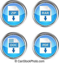 set of blue rar, zip, doc and pdf download icons on a white...