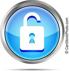 blue open padlock icon on a white