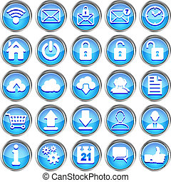 set of blue glossy web icons