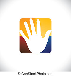 Human hand(palm) icon(sign) in a colorful rounded rectangle-...