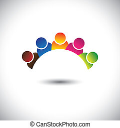 colorful office executives(employees) unity & diversity- vector graphic. This illustration can represent staff members diversity, employee community unity, play school children, happy kids, etc