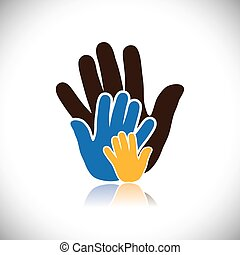 colorful hand iconssigns of people showing concept of...
