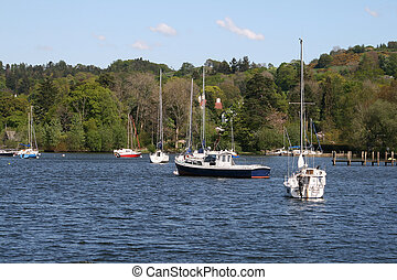 boats on the lake - boats and yachts on windermere lake