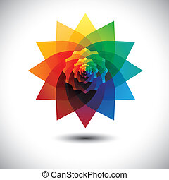 abstract colorful fantasy flower in rainbow colors- vector...
