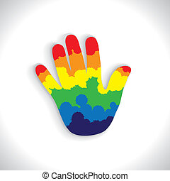 colorful paint spill(splash) on hand(palm) icon(sign)- vector graphic. This illustration consists of child's or kid's hand with splash of spilled colors ranging from orange to yellow to green & blue