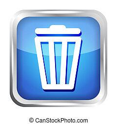 blue trash bin icon on a white