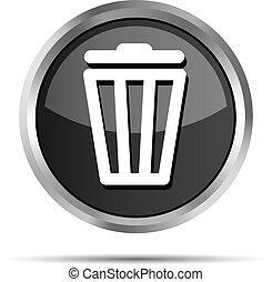black trash bin icon on a white