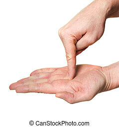 hand pointing finger inside palm over white background