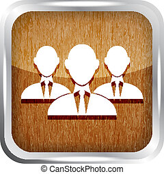 wooden group of businessman icon