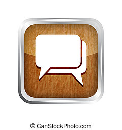 wooden dialog icon on a white background