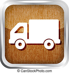 wooden truck icon button on a white background