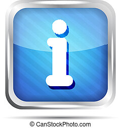 blue striped info icon button on a white background