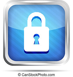 blue striped padlock icon on a white background