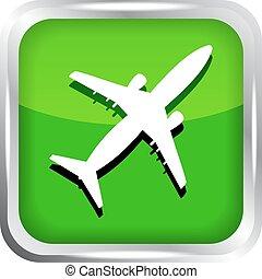 verde, avión, icono, blanco, espalda