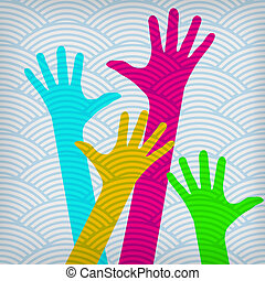 Happy colorful hands on the waved background