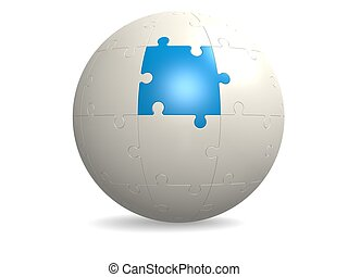 White round puzzle with blue - Hi-res original 3d rendered...