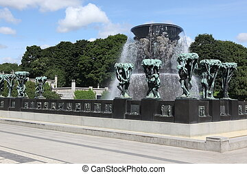 Statues in Vigeland park in Oslo, Norway on Jule 26, 2008....