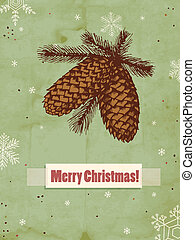 Pine cones - Hand drawn branches with pine cones