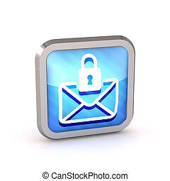 blue striped icon with letter and lock on a white background...