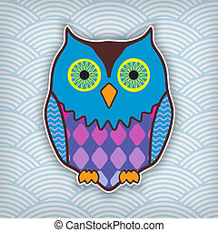 cute motley owl on a waved backdrop - cute motley owl on a...