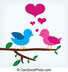 Pair of birds in love sitting