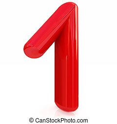 Number quot;1quot;- one - Number 1- one on white background...