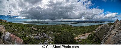 Blue Lagoon island seascape panorama