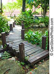 Wooden bridge in the park.