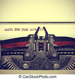 happy new year 2014 written with an old typewriter