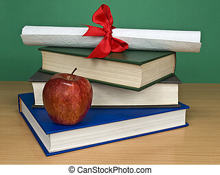 Graduation kit - A pile of books, an apple and a diploma.