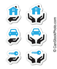 Home, car, keys with hands icons se - Vector black and blue...