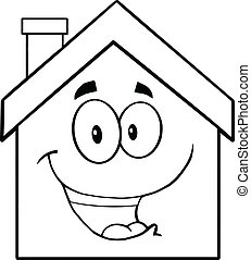 Back And White Happy House Cartoon Mascot Character