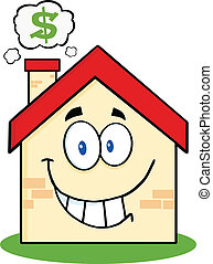 House With Smoke Cloud And Dollar - Smiling House Cartoon...