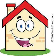 Happy House Cartoon Character - Happy House Cartoon Mascot...