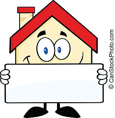 Smiling House Holding A Banner - Smiling House Cartoon...