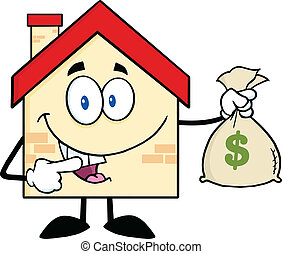House Holding A Bag Of Money - House Cartoon Mascot...