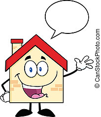 Happy House With Speech Bubble - Happy House Cartoon Mascot...