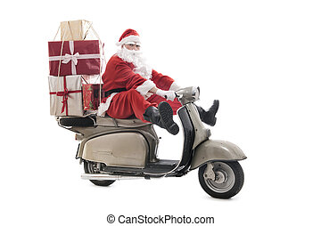 Santa Claus on vintage scooter with stack of christmas...