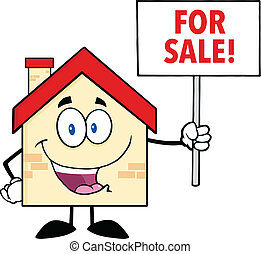 House Holding Up A Blank Sign - House Cartoon Mascot...