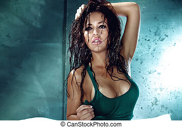 Portrait of attractive brunette with wet hair. - Portrait of...