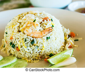Unique style Thai shrimp fried rice serves on the dish