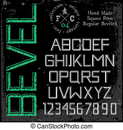 Handmade retro font. 3d beveled type. Grunge textures placed...