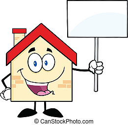 House Holding Up A Blank Sign - House Cartoon Character...