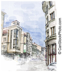 Illustration of city street. Watercolor style.